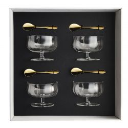 Coffret 4 coupes a glace 25 cl + 4 cuilleres a moka onde gold