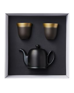 Coffret theiere 4 tasses cloche alu black + 2 mugs 25 cl illusions rouge d'afrique