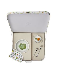 Valisette assierre a dessert ronde 20 cm + mug 8 cm + fourchette + cuillere a cafe + set de table